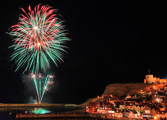 Fireworks over Whitby Harbour on regatta Monday Photo